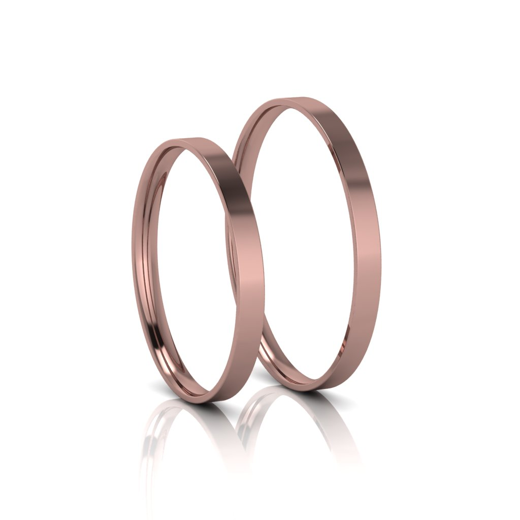 Alianças de Casamento Cíntia Rosé Slim em ouro 18k, largura de 2mm