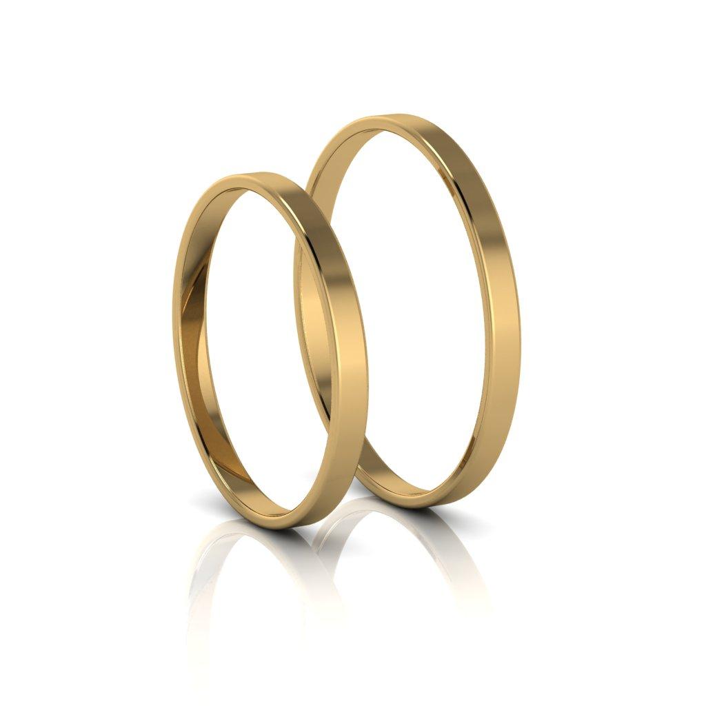 Alianças de Casamento Cíntia Slim em ouro 18k, largura de 2mm