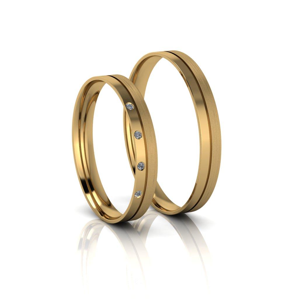 Alianças de Casamento Penélope Slim em ouro 18k,com diamantes, largura de 3mm