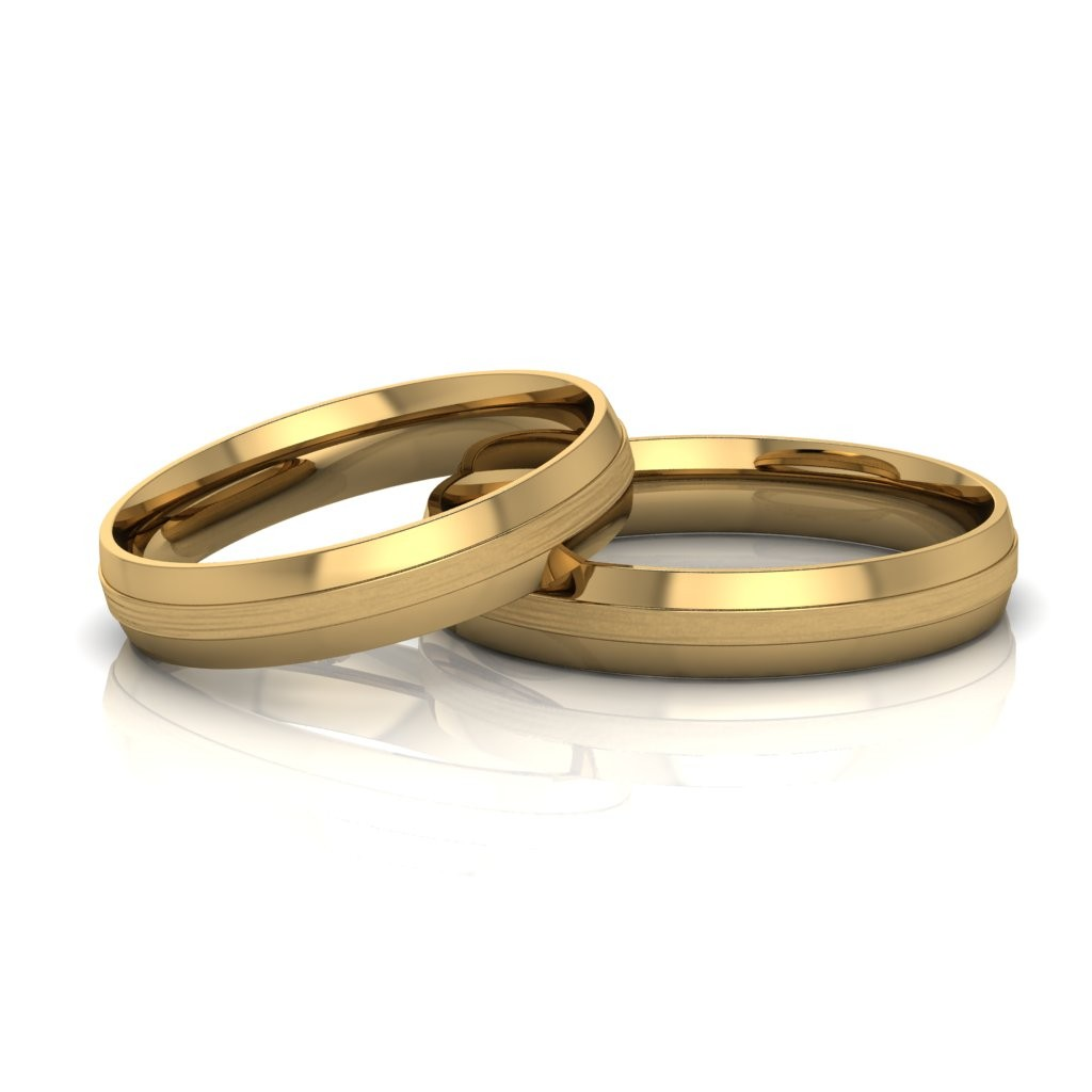 Alianças de Casamento Trácia Slim em ouro 18k, largura de 4 mm