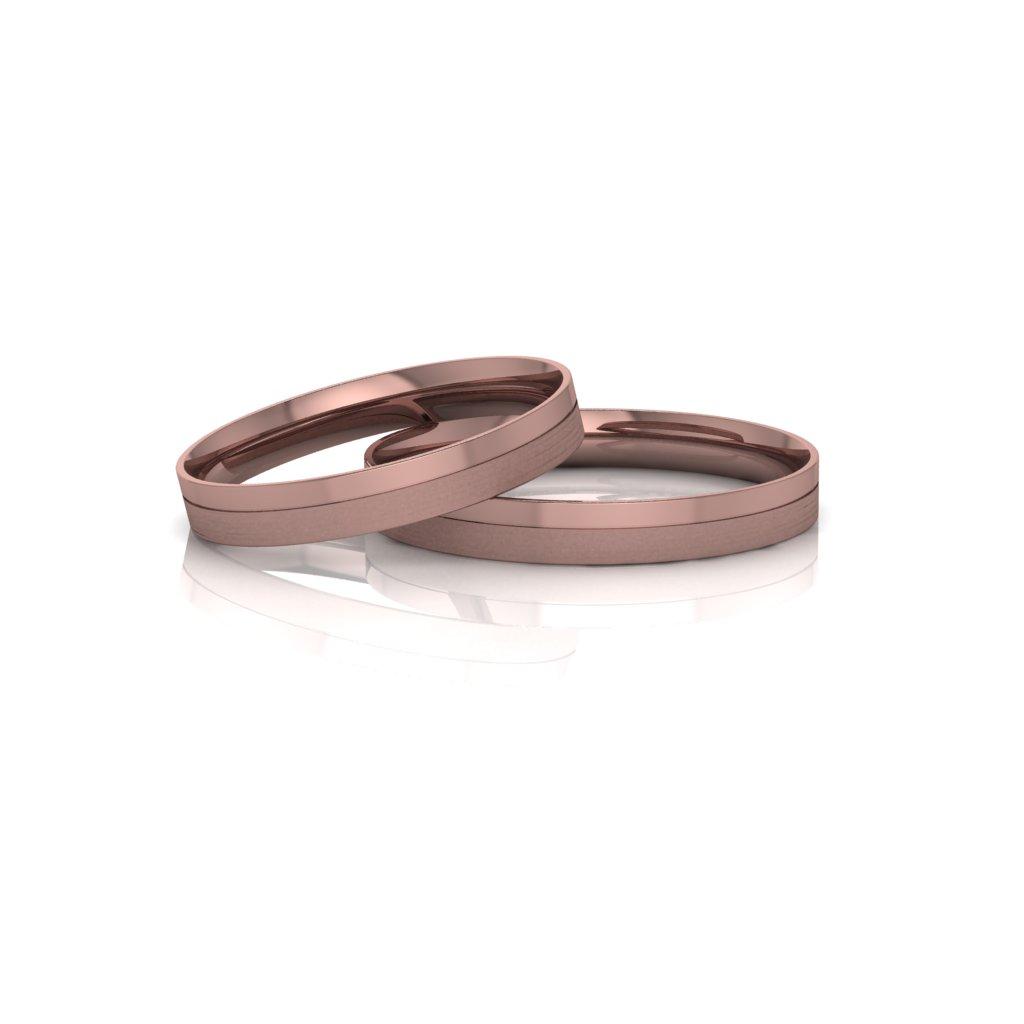 Alianças de Casamento Táurica Rosé Slim em ouro 18k, largura de 3 mm