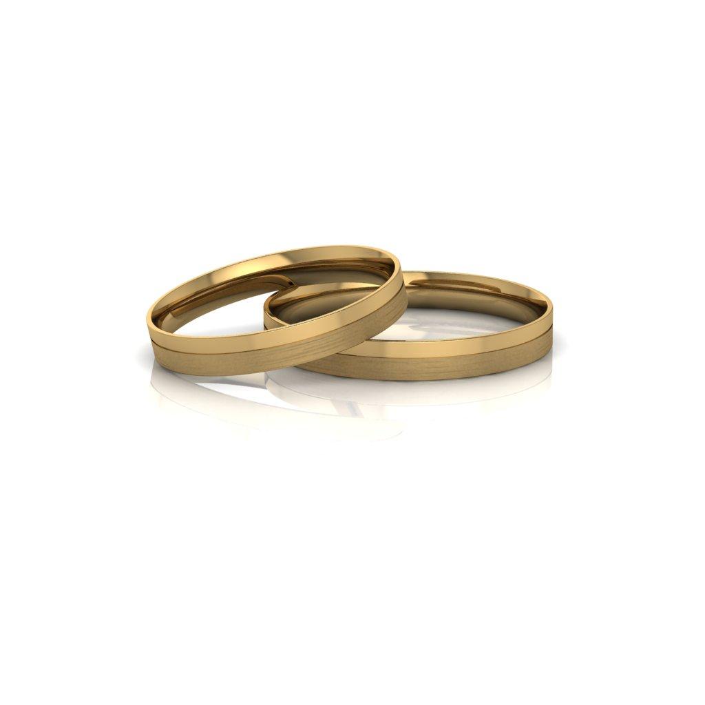 Alianças de Casamento Táurica Slim em ouro 18k, largura de 3 mm