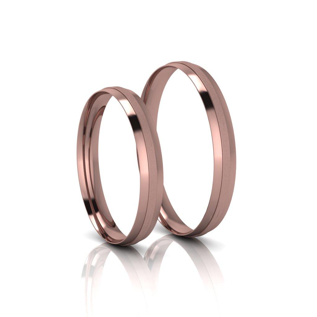 Alianças de Casamento Trácia Rosé Slim em ouro 18k, largura de 3 mm