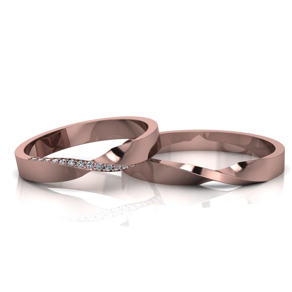 Alianças de Casamento Horas Slim em ouro rosé 18K, com diamantes, largura de 3 mm