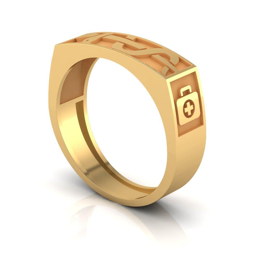 Anel de Formatura Medicina em ouro 18k, largura de 6 mm