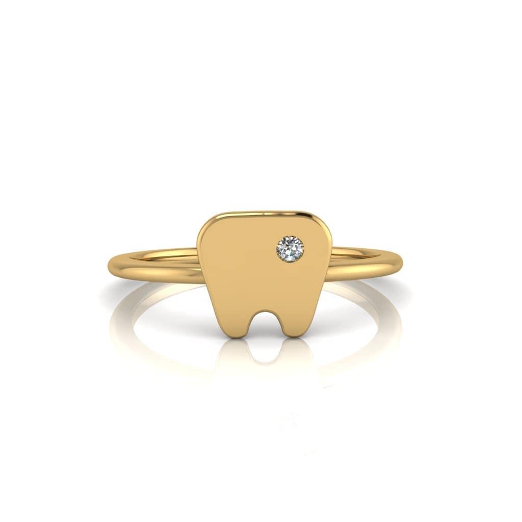 Anel de Formatura Odontologia em ouro 18k, largura de 1 mm