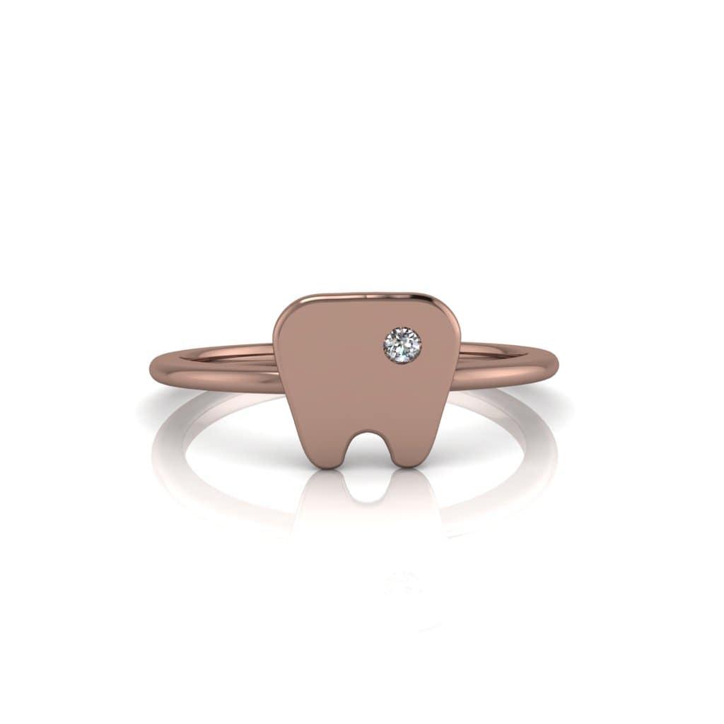 Anel de Formatura Odontologia em ouro rosé 18k, largura de 1 mm