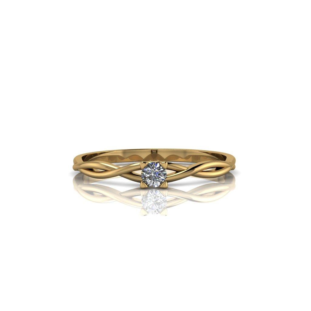 Anel de Noivado Ágape em ouro 18K e Diamante de 8 pontos