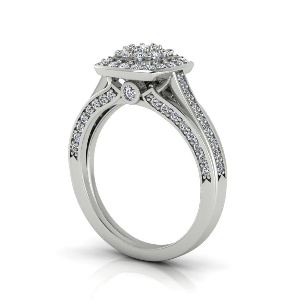 Anel de Noivado Apolo em ouro branco 18k, com diamantes
