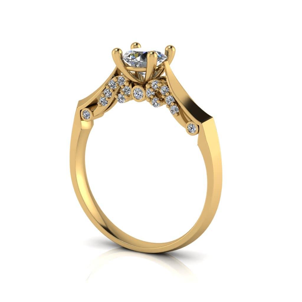 Anel de Noivado Ares em ouro 18k, com diamantes, largura de 2 mm