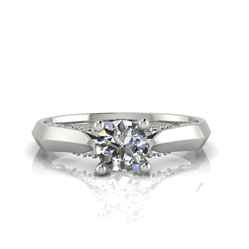 Anel de Noivado Ares em ouro branco 18k, com diamantes, largura de 2 mm