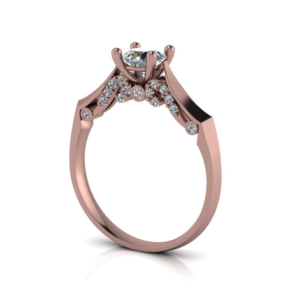 Anel de Noivado Ares em ouro rosé 18k, com diamantes, largura de 2 mm