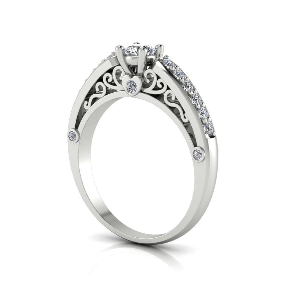 Anel de Noivado Cronos em ouro branco 18k, com diamantes, largura 2,5 mm