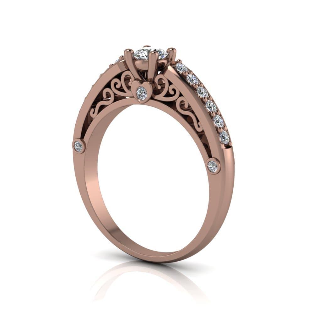 Anel de Noivado Cronos em ouro rosé 18k, com diamantes, largura 2,5 mm