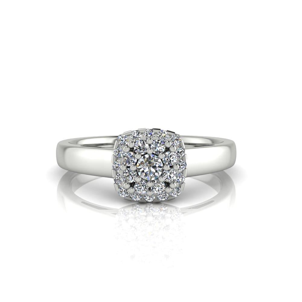 Anel de Noivado Deméter em ouro branco 18k, com diamantes