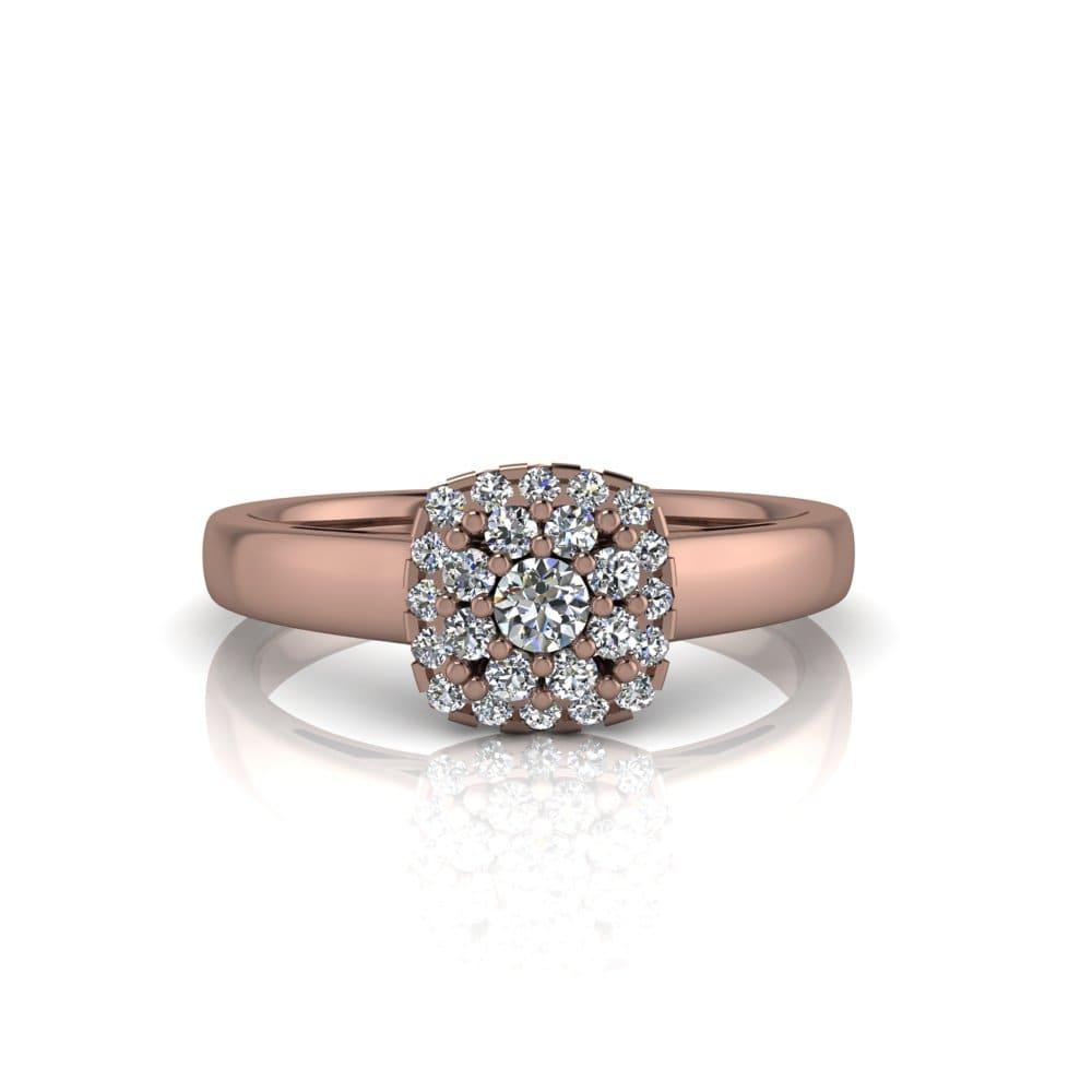 Anel de Noivado Deméter em ouro rosé 18k, com diamantes