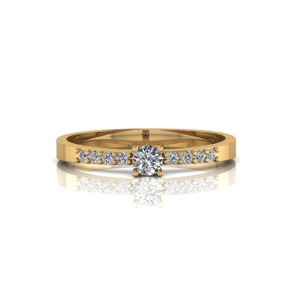 Anel de Noivado Dionísio em ouro 18k, com diamantes, largura de 2,2 mm