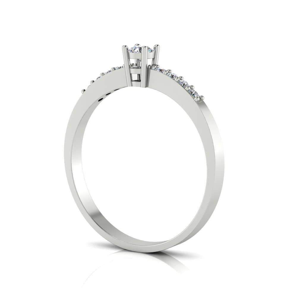 Anel de Noivado Dionísio em ouro branco 18k, com diamantes, largura de 2,2 mm