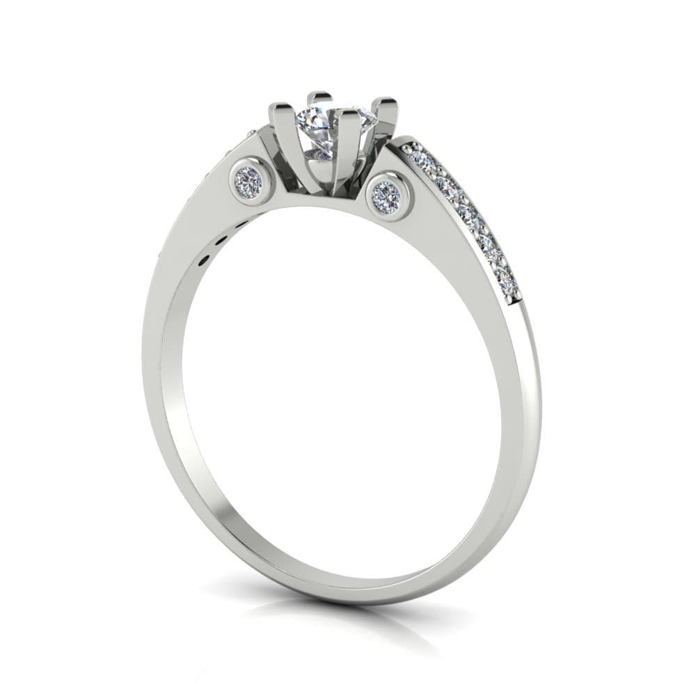 Anel de Noivado Éos em ouro branco 18k, com diamantes, largura de 1,6 mm