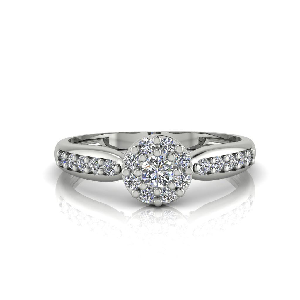 Anel de Noivado Eros em ouro branco 18k, com diamantes