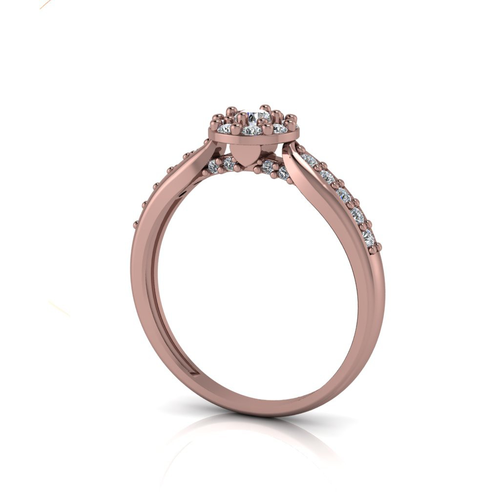 Anel de Noivado Eros em ouro rosé 18k, com diamantes