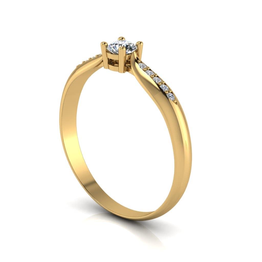 Anel de Noivado Hades em ouro 18k, com diamantes, largura de 2 mm