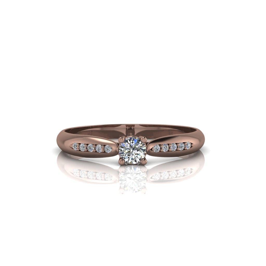 Anel de Noivado Hades em ouro rosé 18k, com diamantes, largura de 2 mm