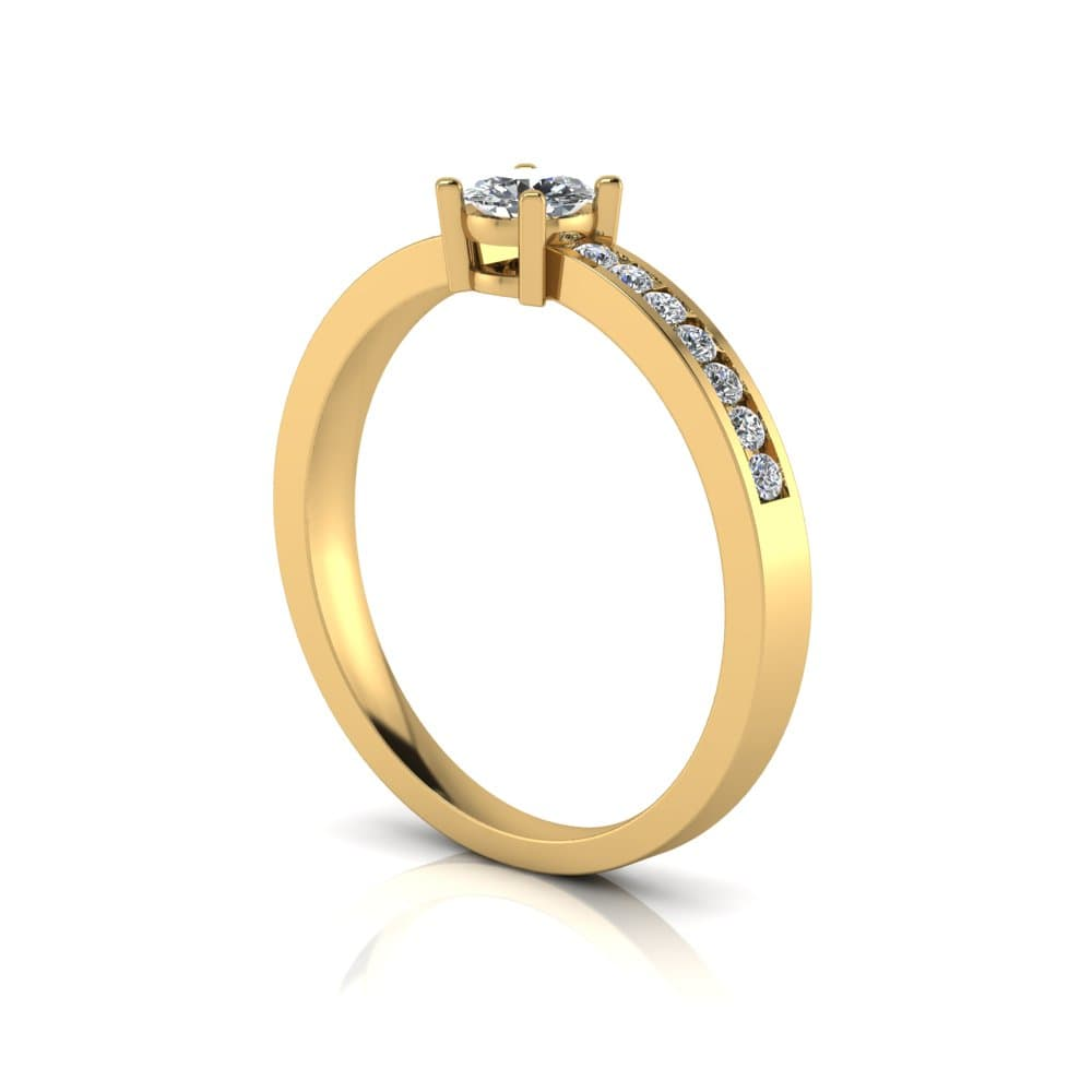 Anel de Noivado Hefesto em ouro 18k, com diamantes, largura de 2,2 mm