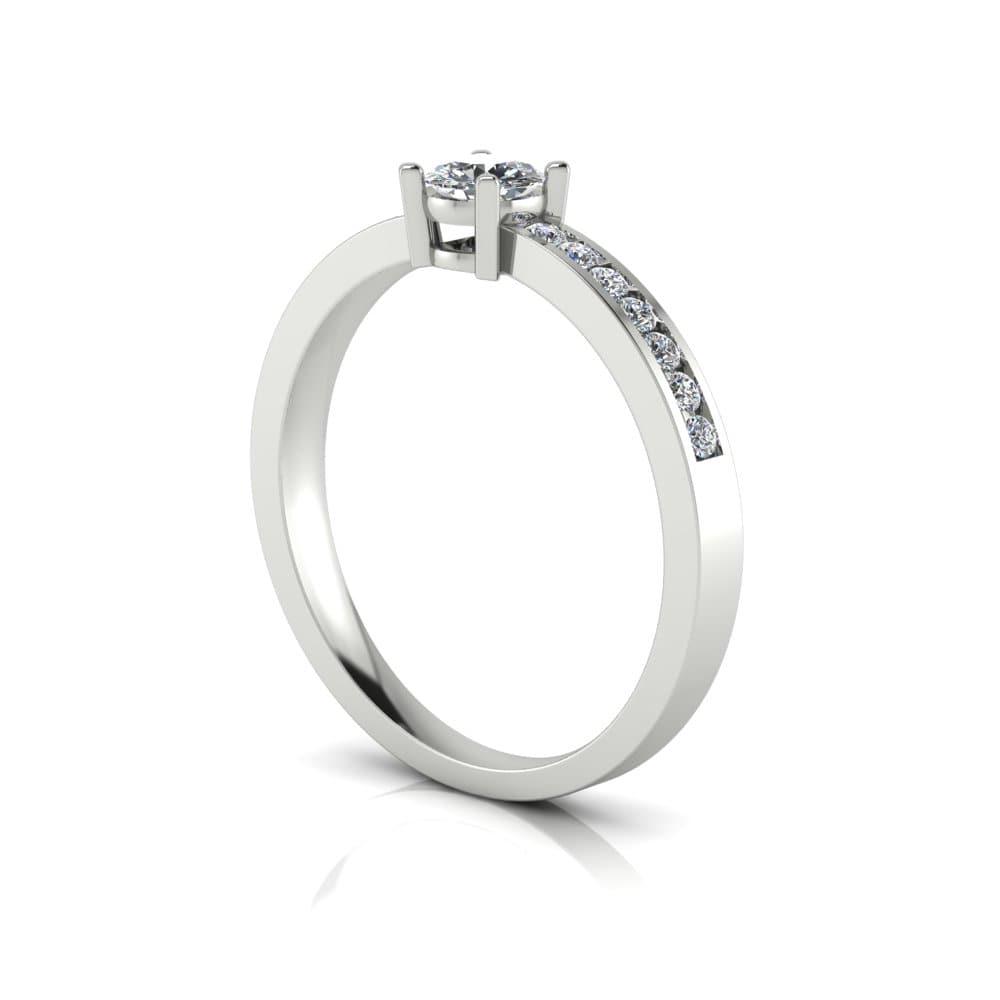 Anel de Noivado Hefesto em ouro branco 18k, com diamantes, largura de 2,2 mm