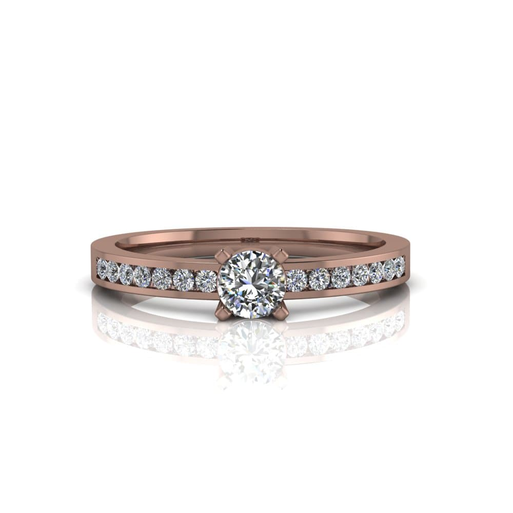 Anel de Noivado Hefesto em ouro rosé 18k, com diamantes, largura de 2,2 mm