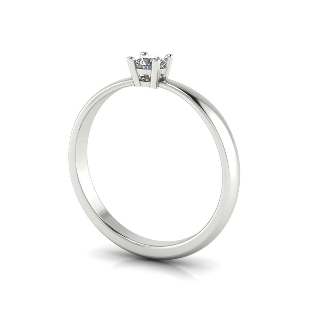 Anel de Noivado Hélios em ouro branco 18k, com diamante, largura de 2,3 mm