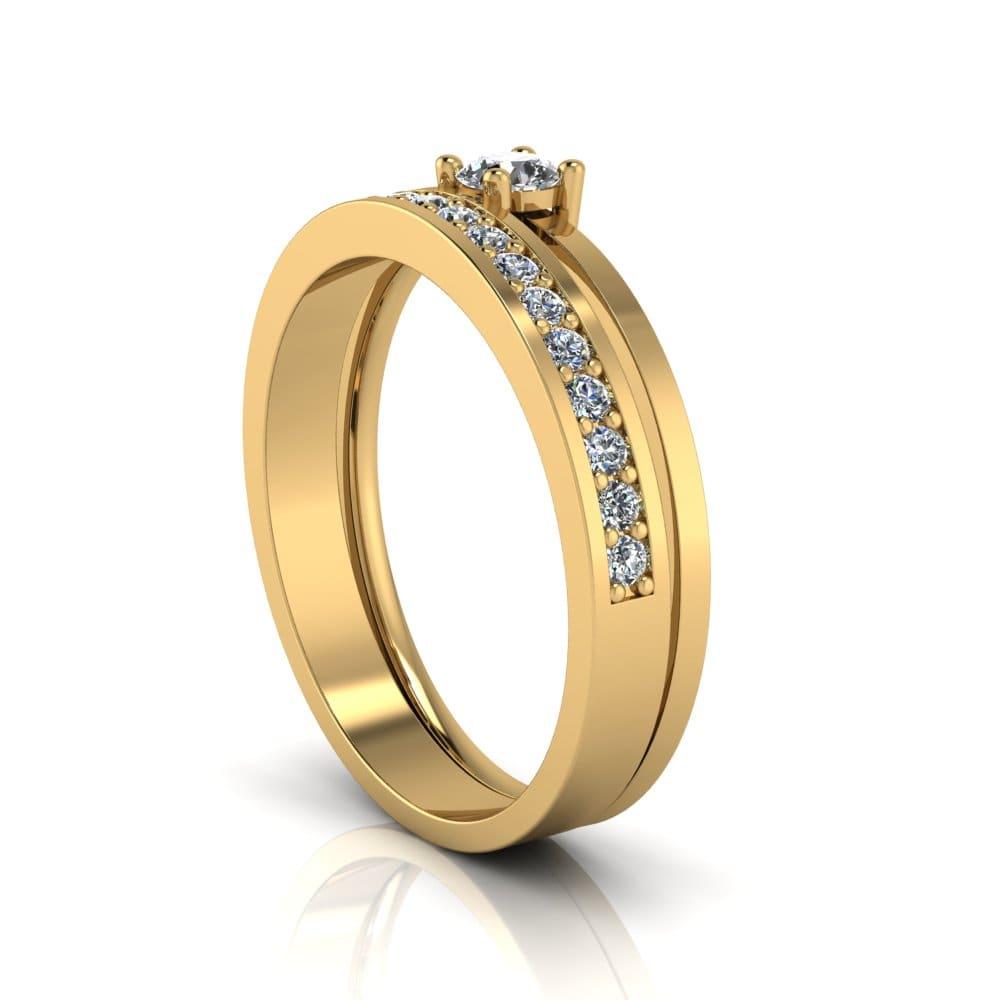 Anel de Noivado Pã em ouro 18k, com diamantes, largura de 3 mm