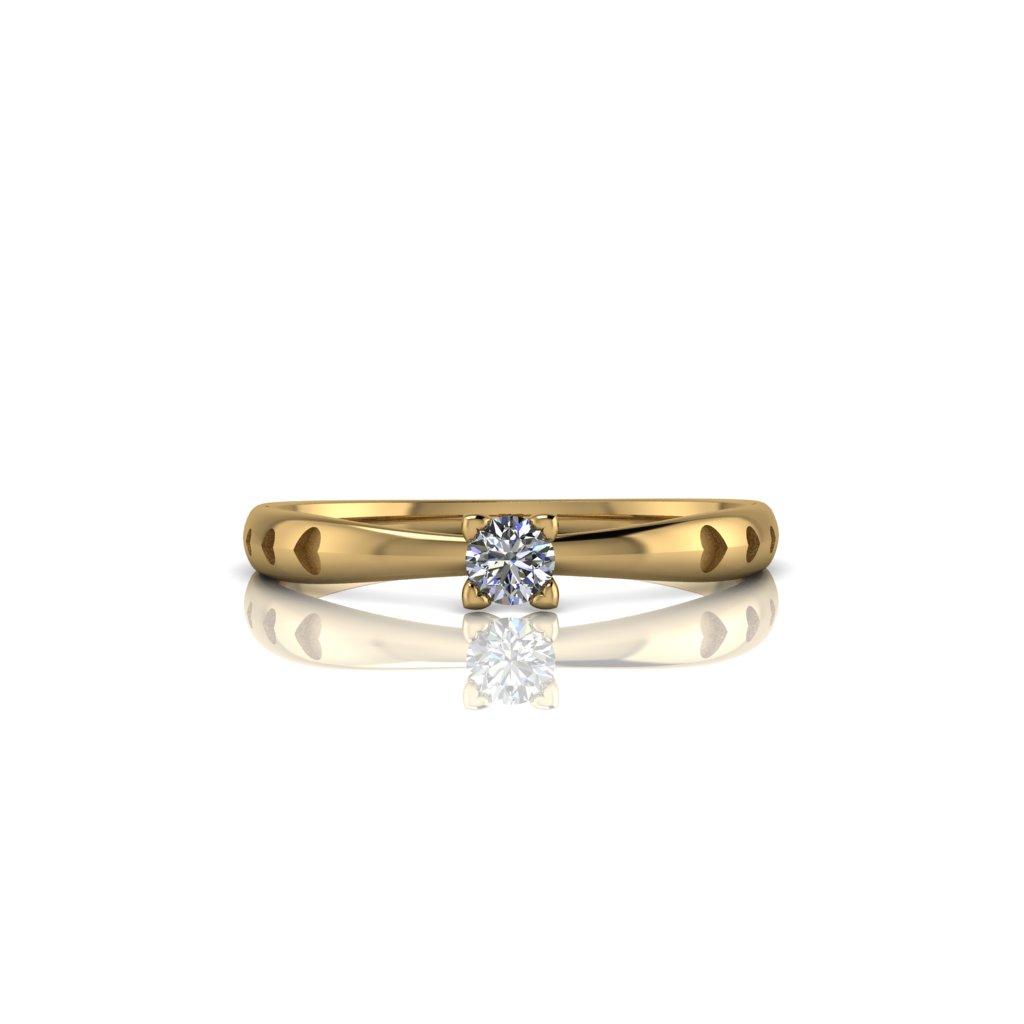 Anel de Noivado Philautia em ouro 18K e Diamante de 8 pontos