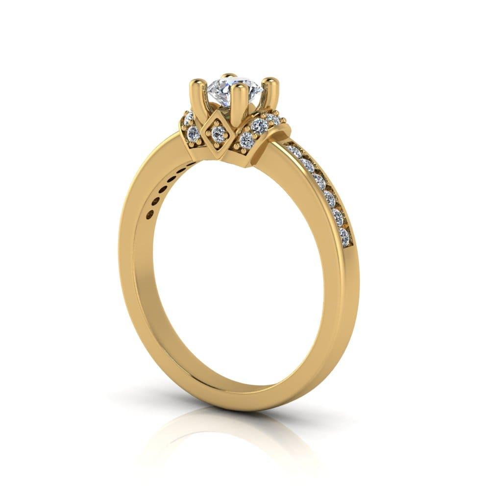 Anel de Noivado Poseidon em ouro 18k, com diamantes, largura de 2,5 mm