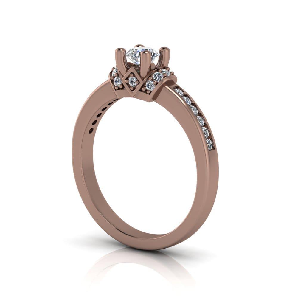 Anel de Noivado Poseidon em ouro rosé 18k, com diamantes, largura de 2,5 mm