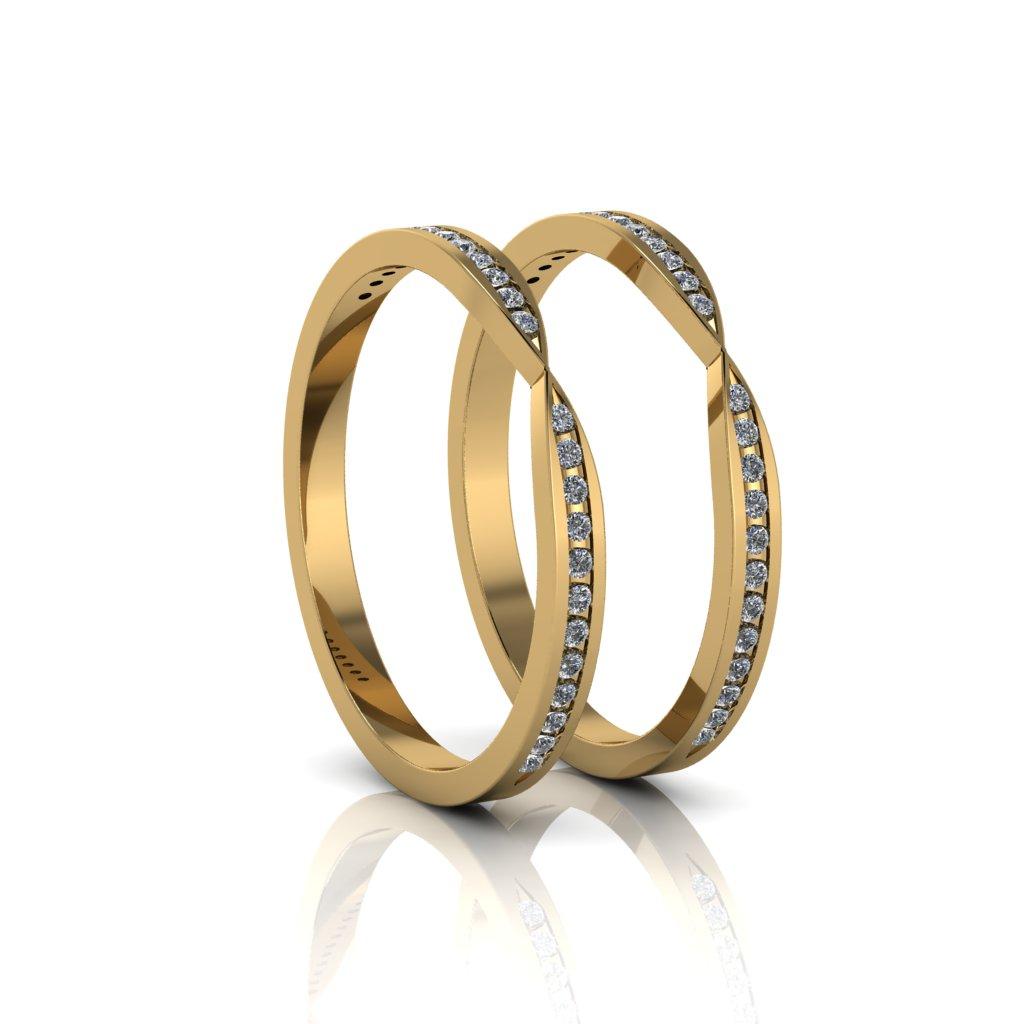 Aparadores de Aliança em ouro 18k, com 22 diamantes e largura de 2mm