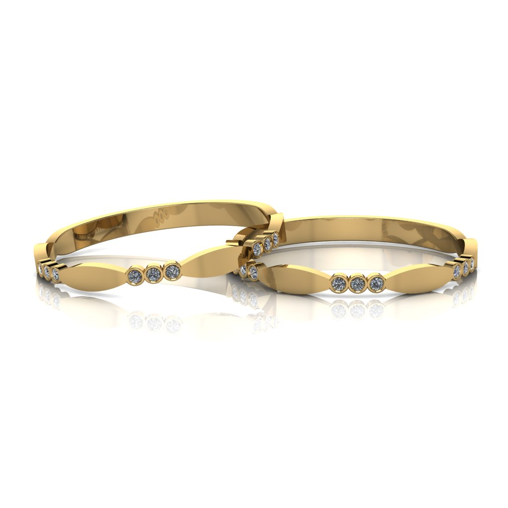 Aparadores de Aliança em ouro 18k, com diamantes, detalhes redondos e largura de 2mm