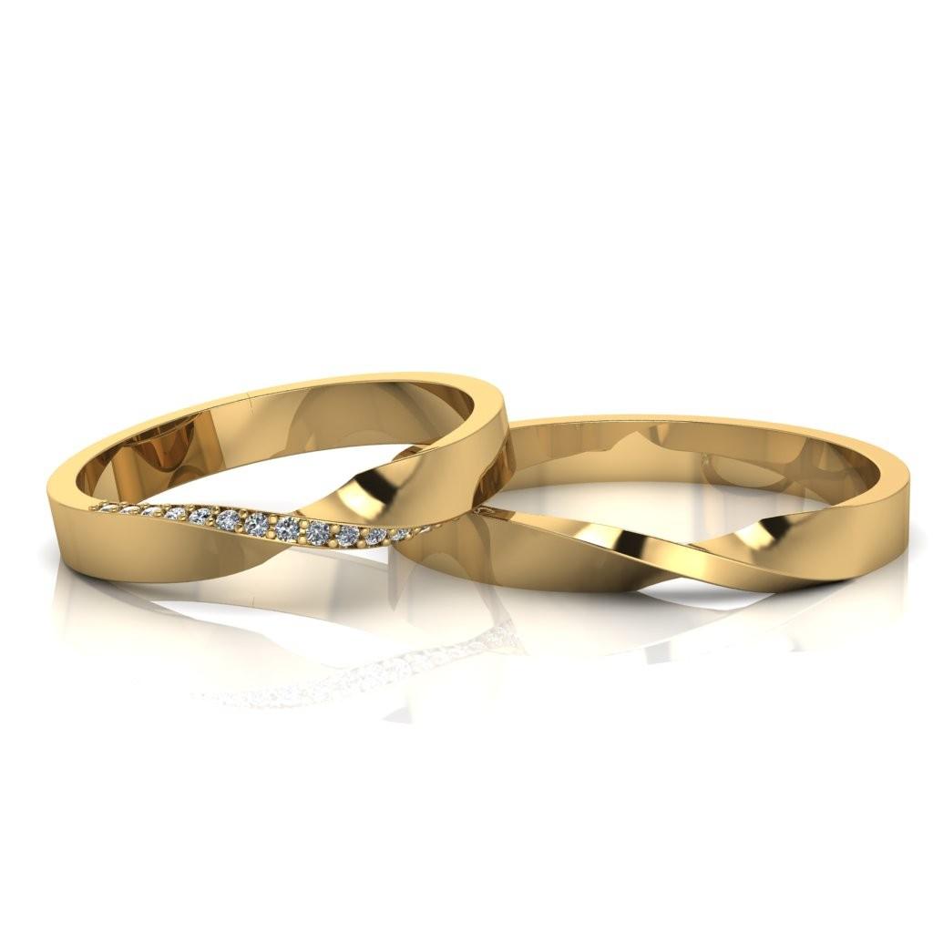 Alianças de Casamento Horas Slim em ouro 18K, com diamantes, largura de 3 mm