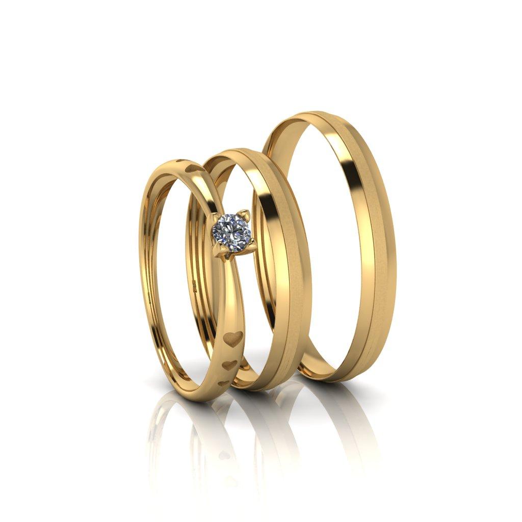 Combo alianças Trácia Slim e Anel de Diamante em Ouro 18K