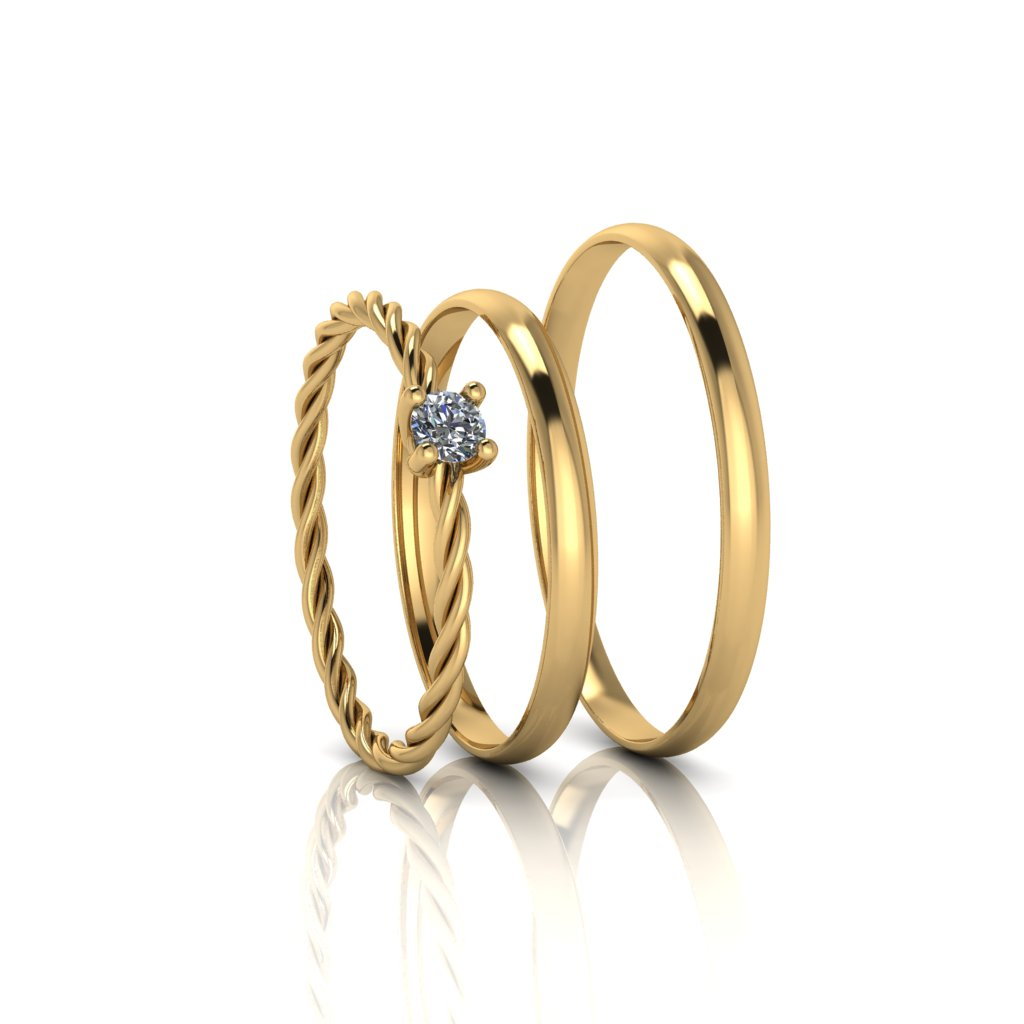 Combo alianças Tradicional Anatomica e Anel de Diamante em Ouro 18K