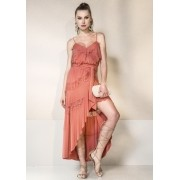 SLIP DRESS GARNÚS DOUBLE ROSA