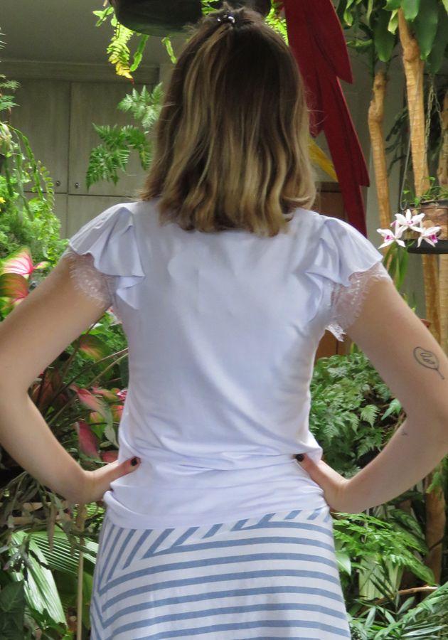 Blusa Mamô Romantica Decote Branco