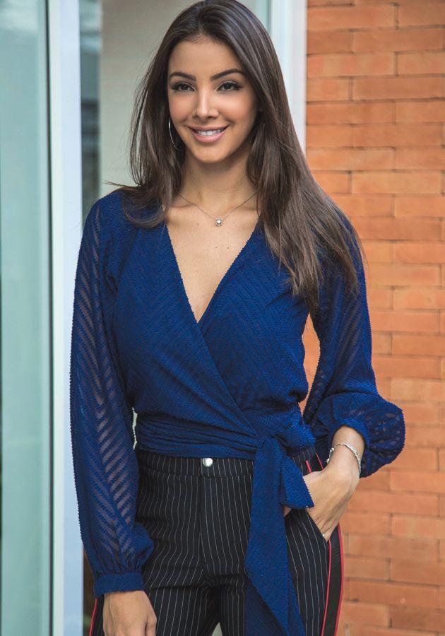 Blusa Raquel Devore Azul