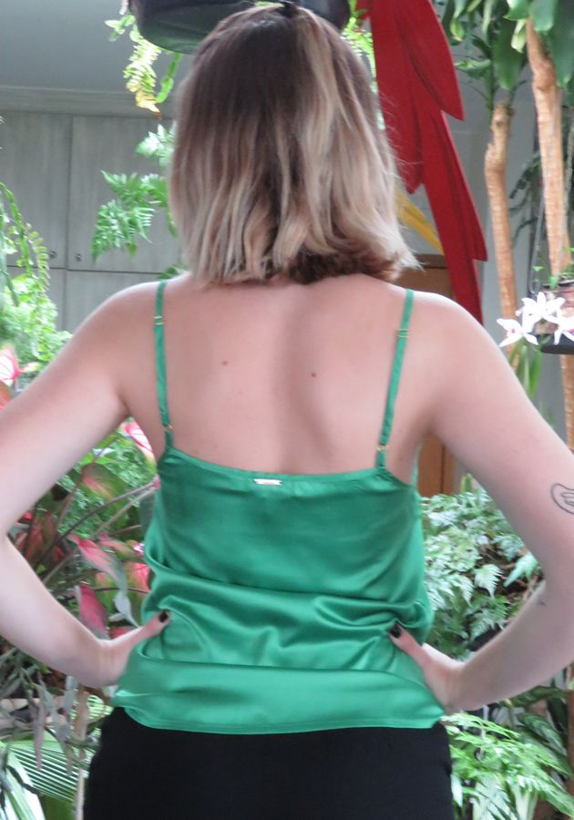 Regata Mamô Cetim Renda Verde