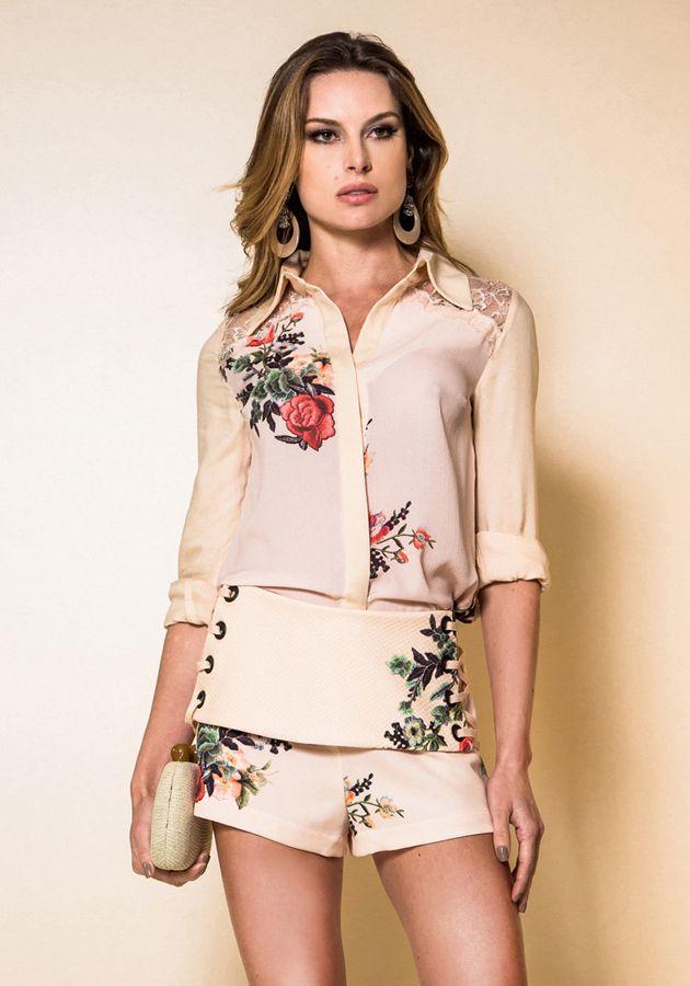 Shorts Garnús Floral Faixa Ilhos Estampado