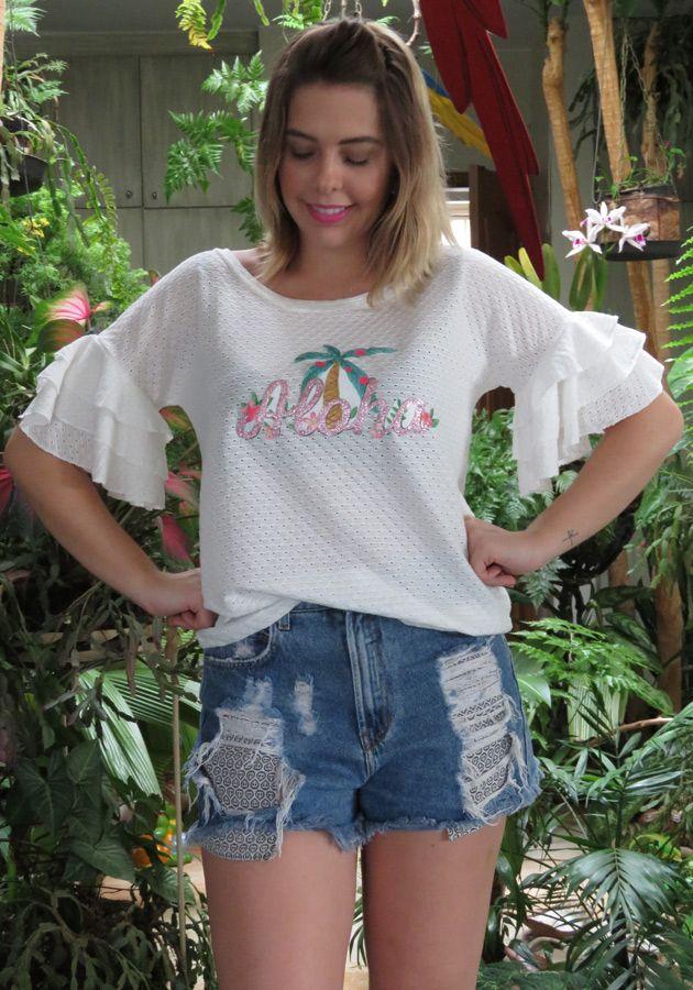 T-Shirt Mamô Malha Furadinha Branca
