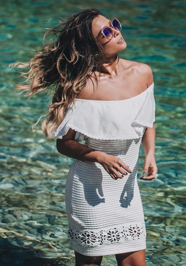 Vestido Armazém Bandage Lurex Babado Branco