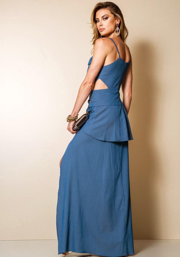 Vestido Garnús Babado Azul