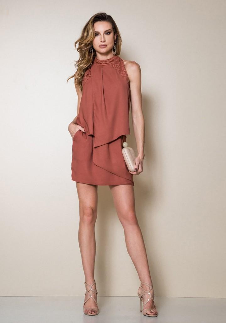 Vestido Garnús Camadas Geometric Rosa