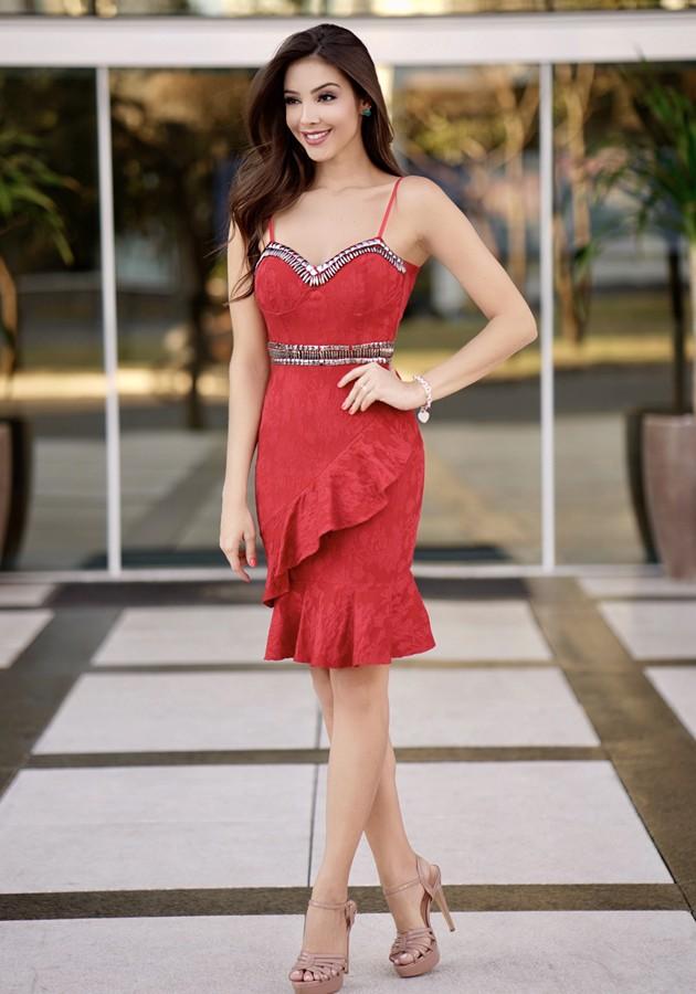 Vestido Liv Babado Bordado Vermelho